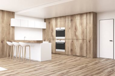 Wooden kitchen with counters, floor