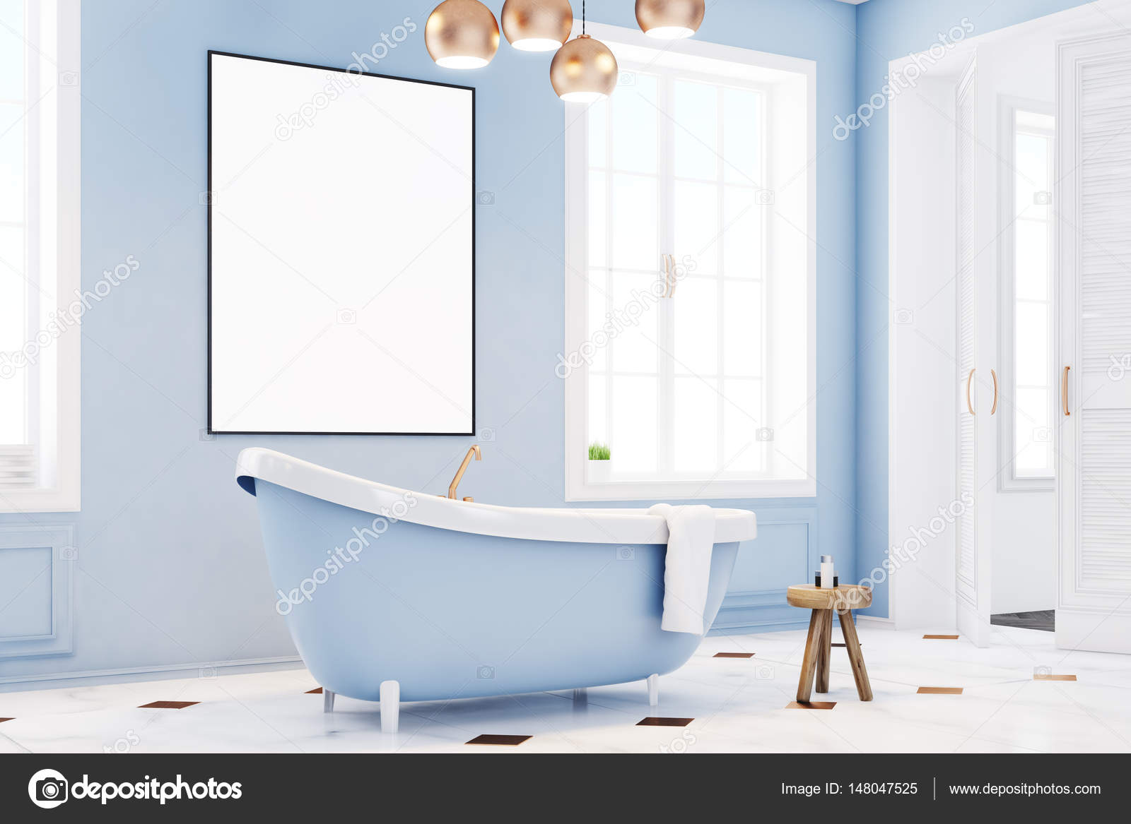 Blue bathroom interior with poster, side — Stock Photo ...