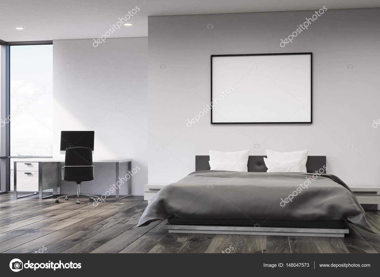 Elegant Graue Wand Schlafzimmer, Vorne U2014 Stockfoto