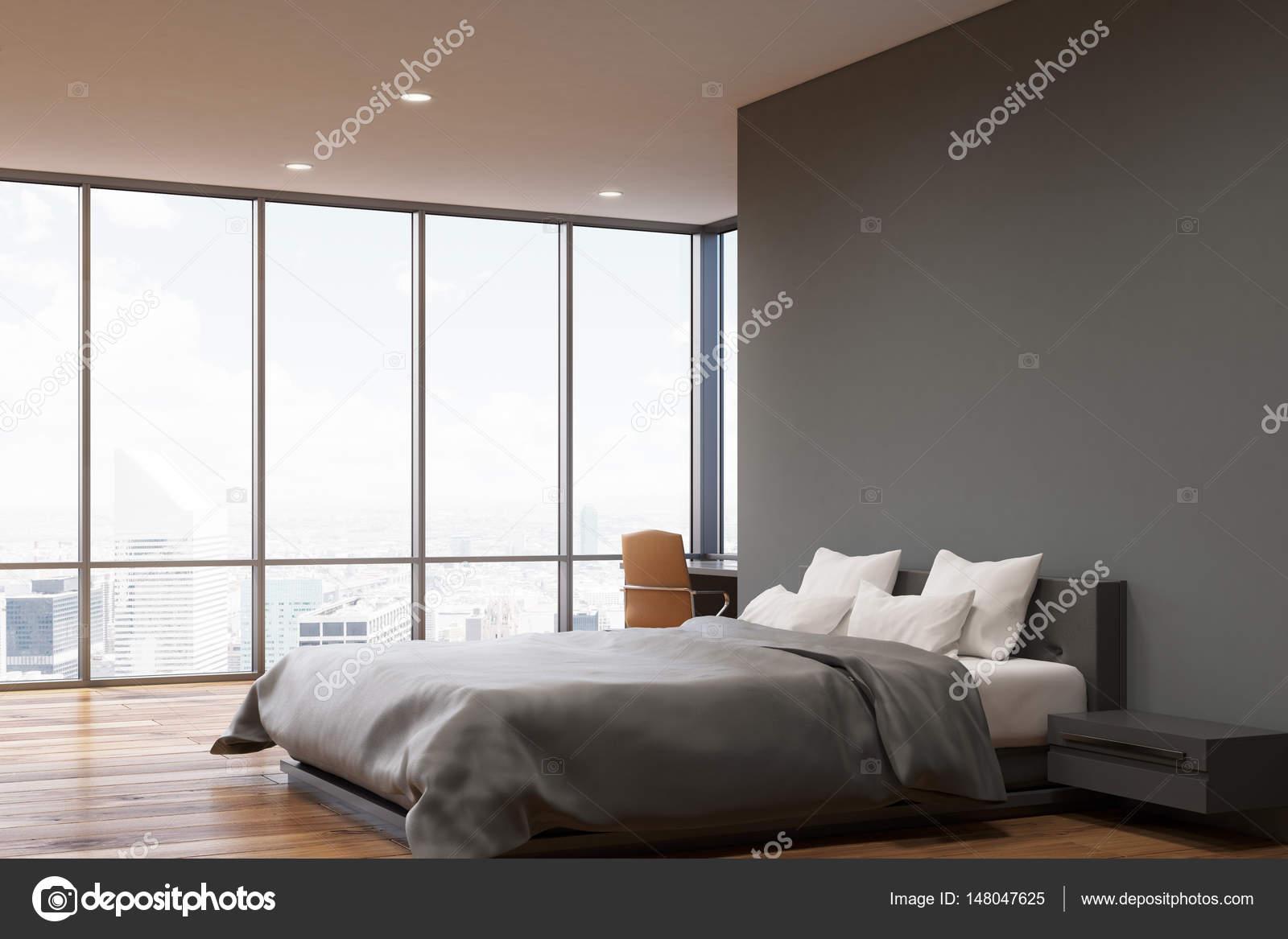 Camera da letto parete grigio scuro, side — Foto Stock ...