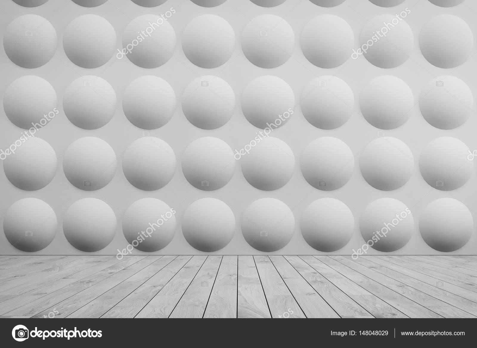 Leeren Raum Innenraum Mit Weißen Wänden Mit Einer Blase Muster Auf Sie Und  Einen Grauen Holzboden. Konzept Für Eine Komfortable Und Ein Neues Zuhause.