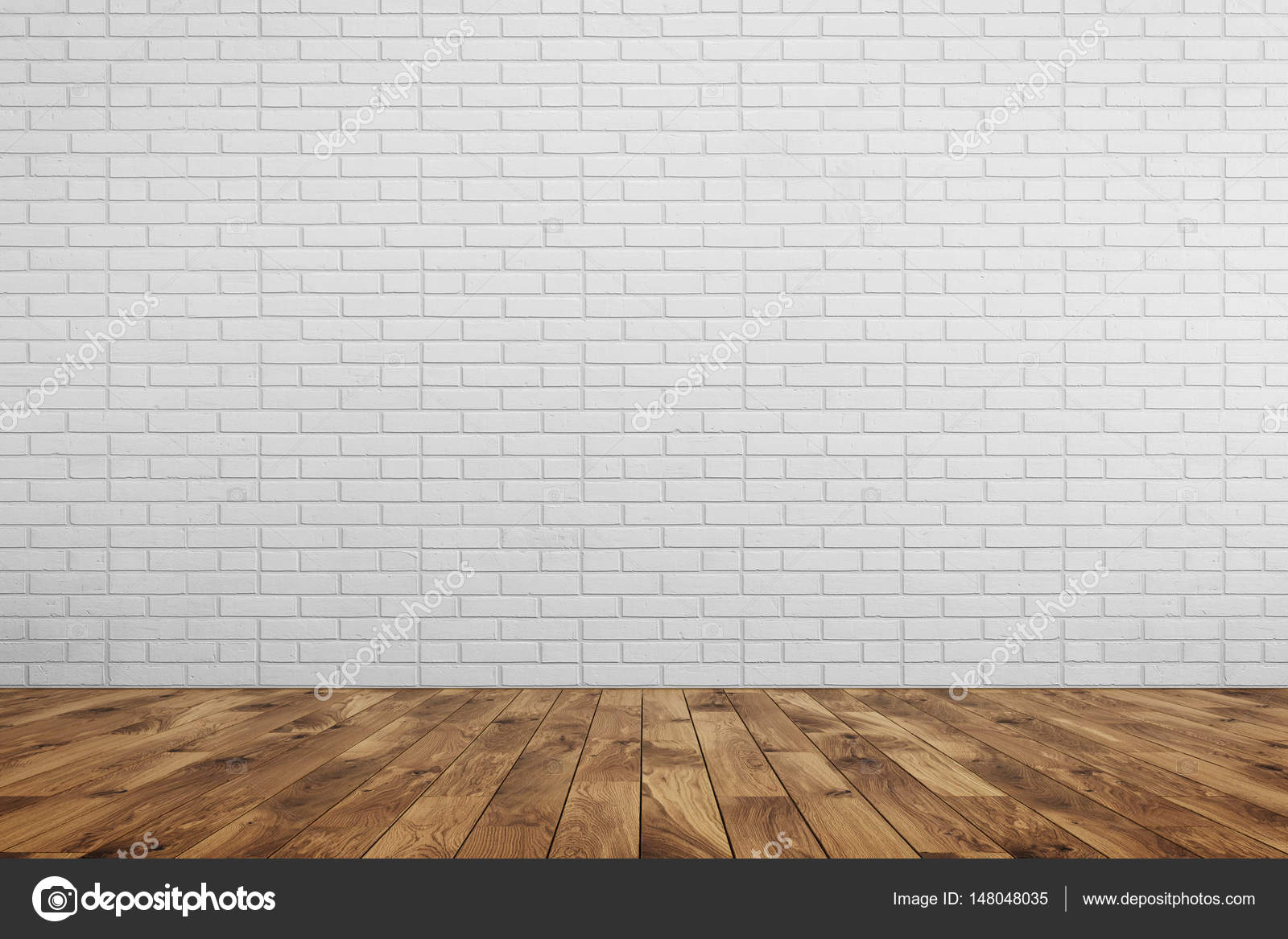 Empty Room White Brick Wall Brown Wood Floor Stock Photo Image By Denisismagilov 148048035