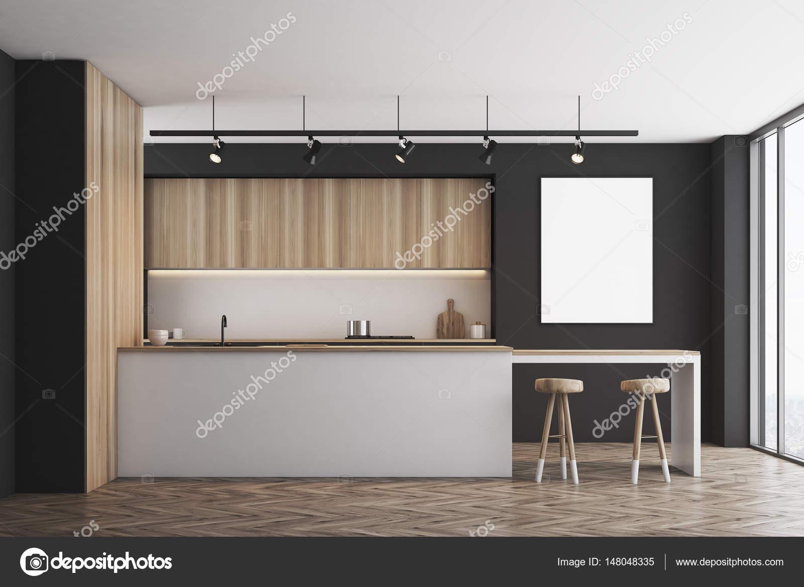 U küchen mit bar  Schwarze Küche mit Bar und Poster — Stockfoto © denisismagilov ...