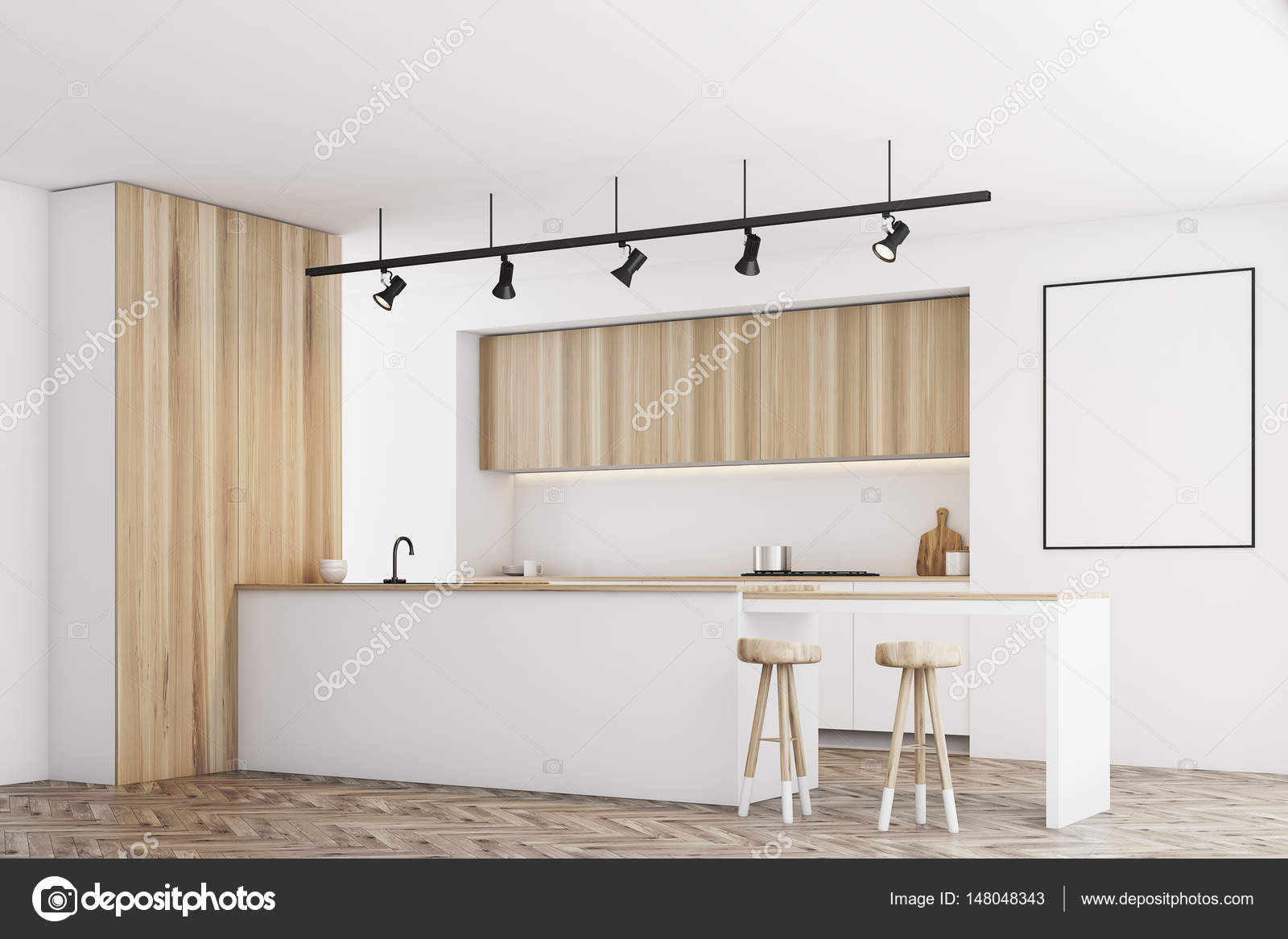 White kitchen with bar and poster, side — Stock Photo ...