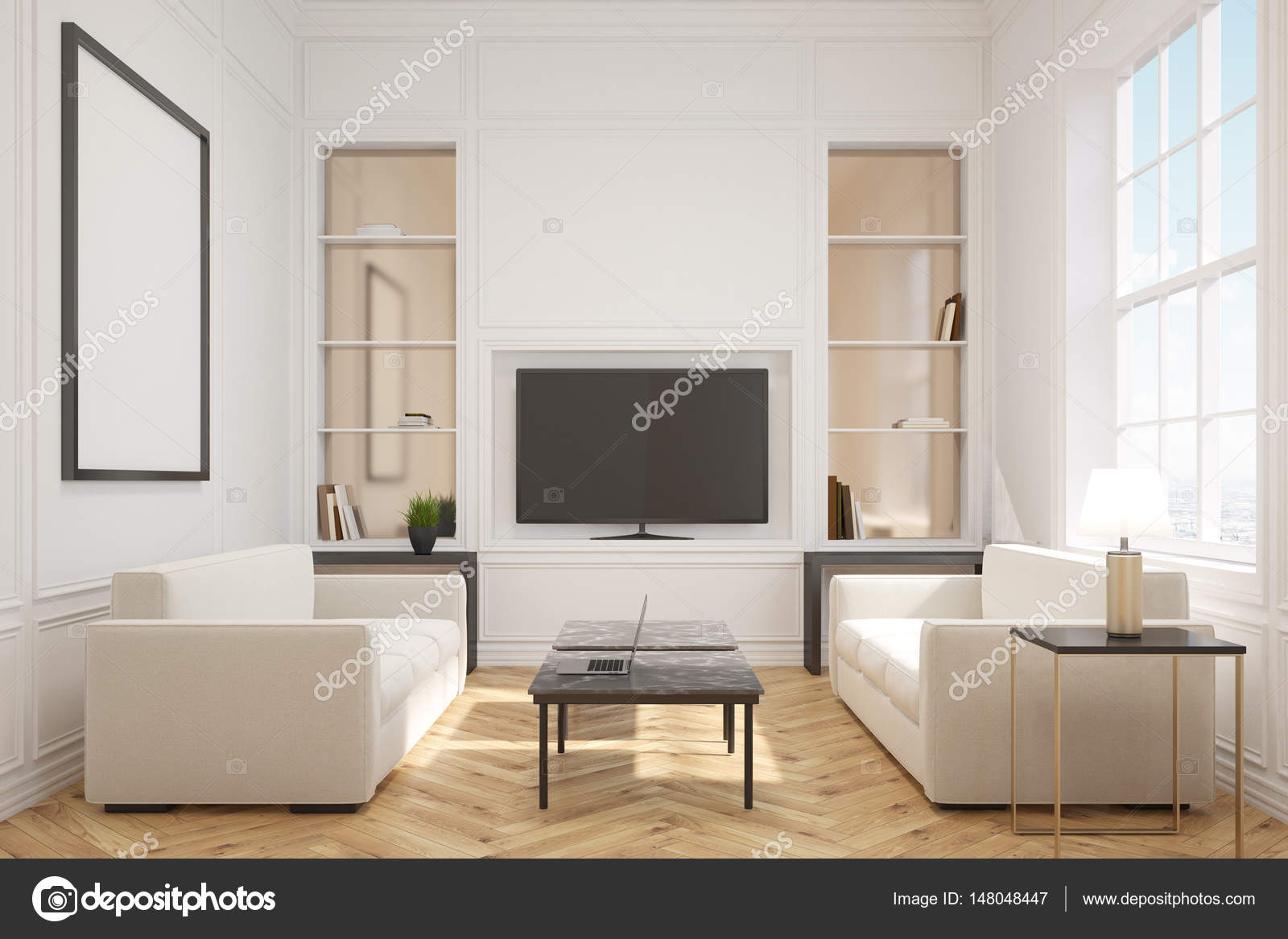 Living room with a tv, front — Stock Photo © denisismagilov #148048447