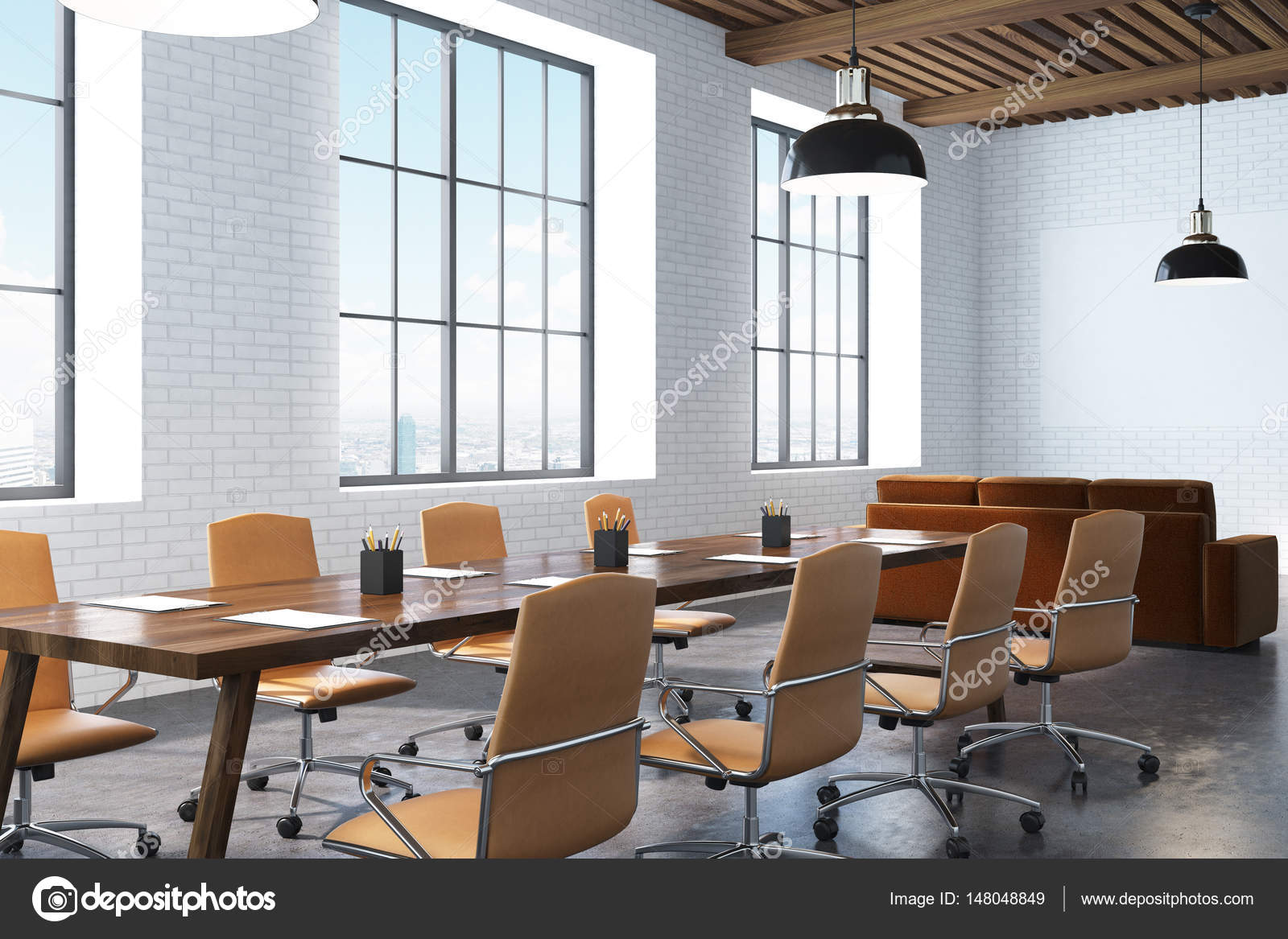 Conference Room With Wooden Table Corner Stock Photo - Corner conference table
