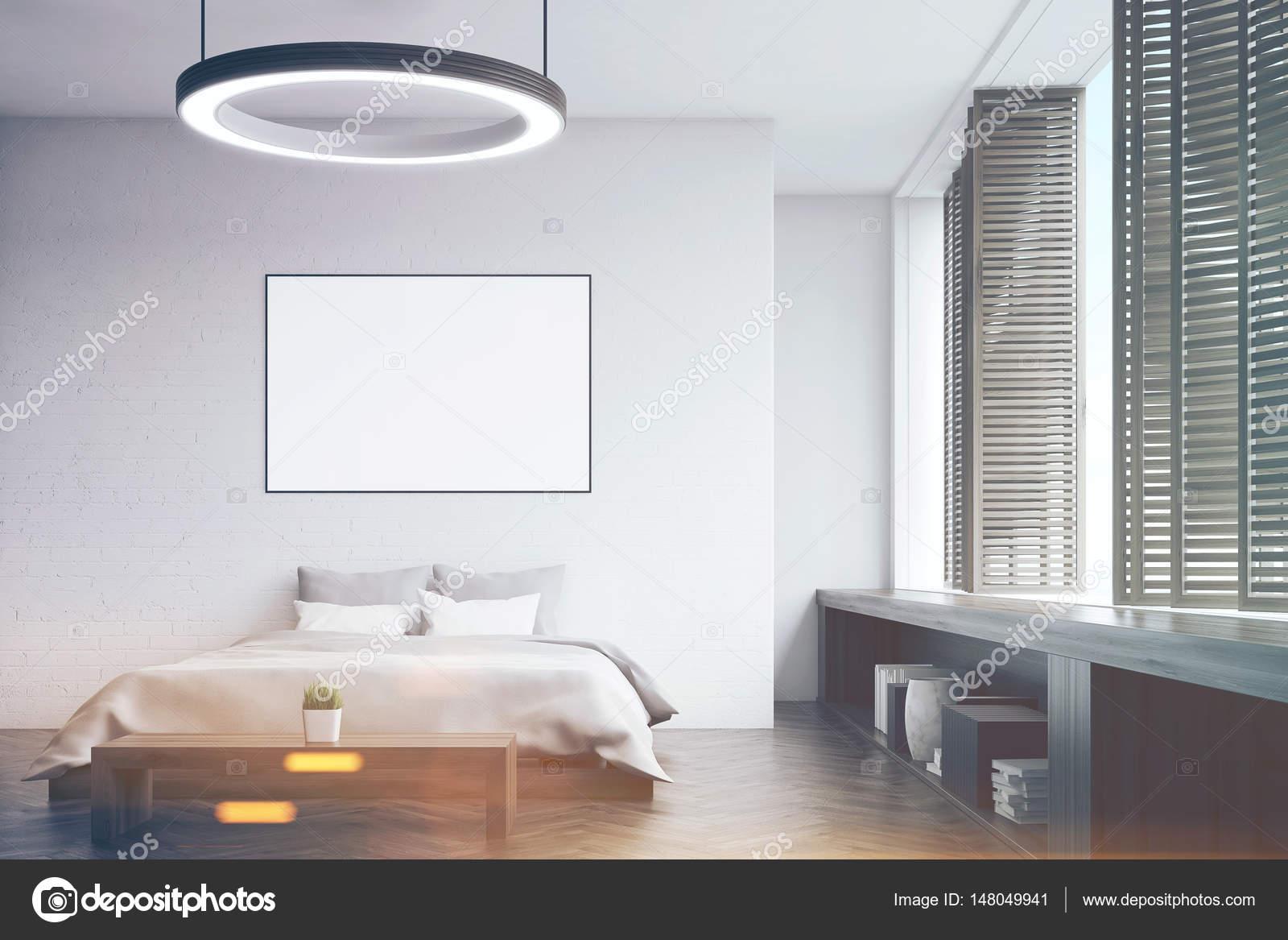 Slaapkamer met een bankje, voorste toned — Stockfoto ...