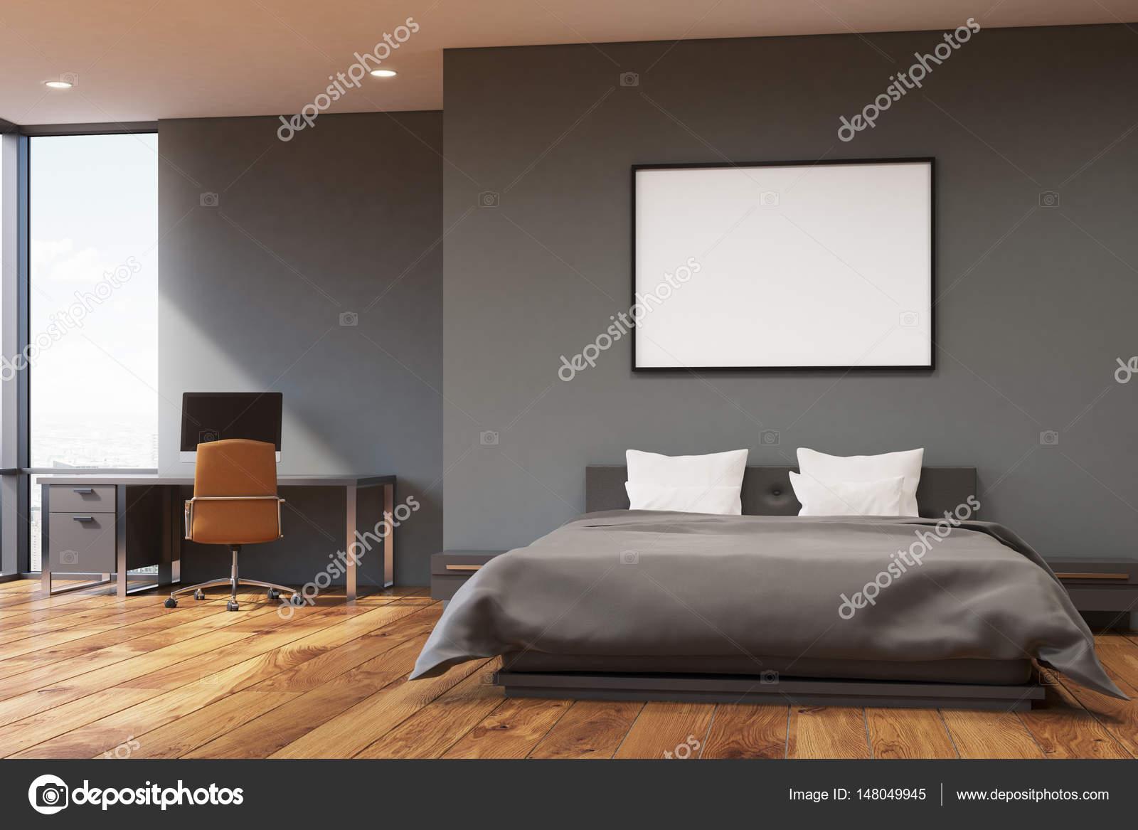 Donker grijze muur slaapkamer, voorzijde — Stockfoto ...