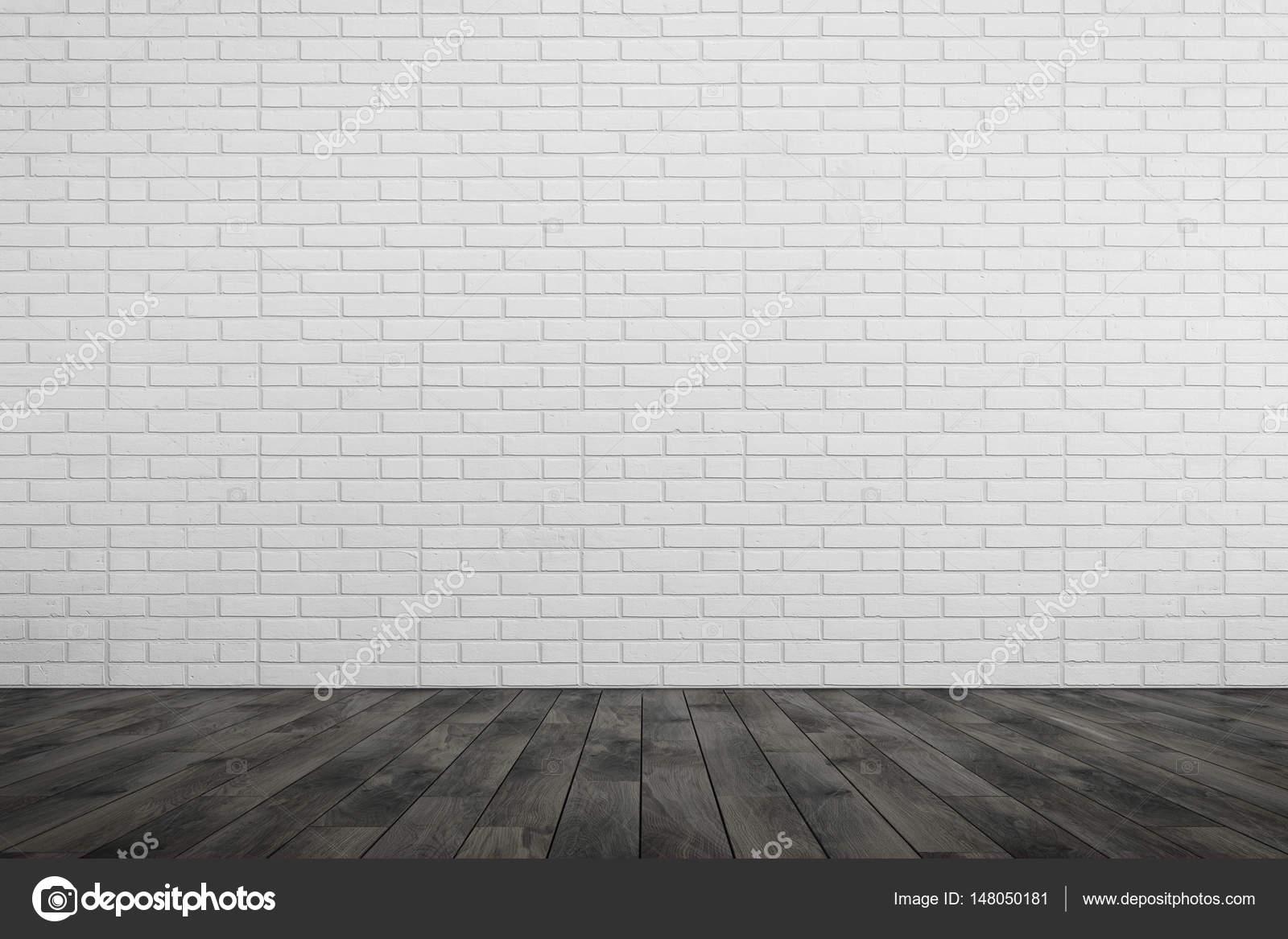 Lege ruimte witte bakstenen muur zwarte houten vloer u stockfoto