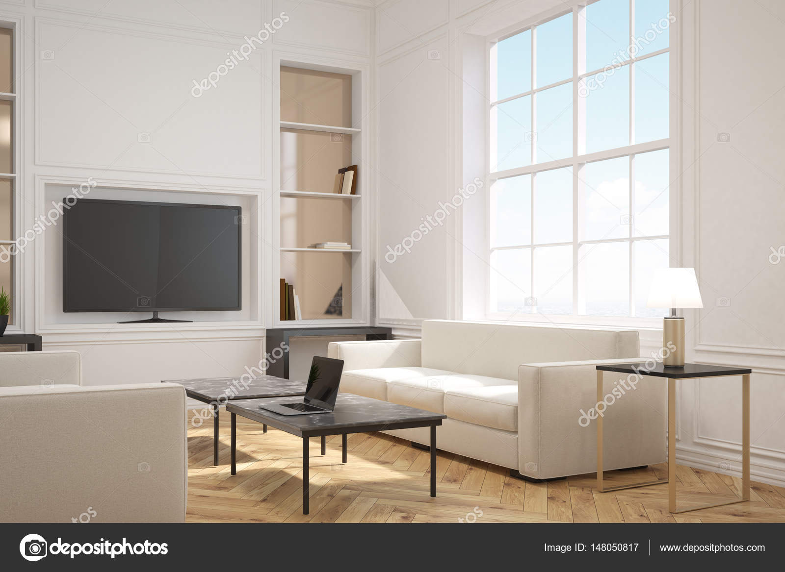 Living room with a tv, side — Stock Photo © denisismagilov #148050817