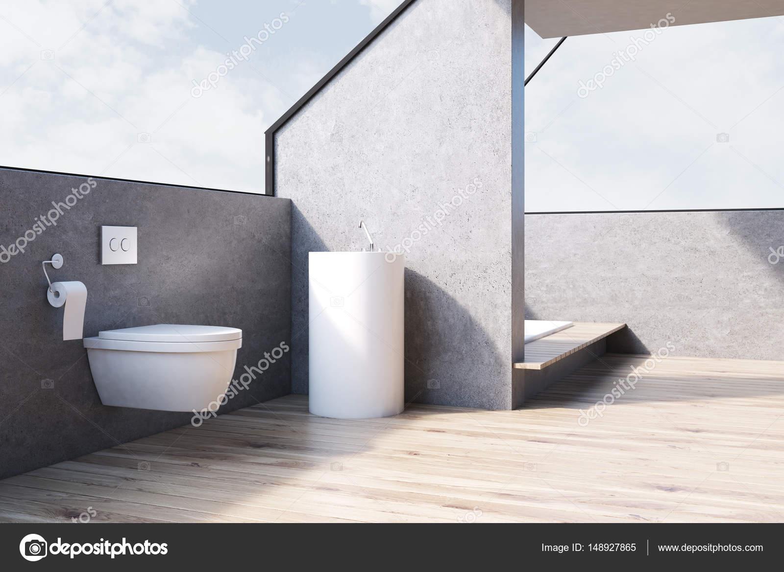 Gris Salle De Bains Avec Toilettes Bois C T Photographie