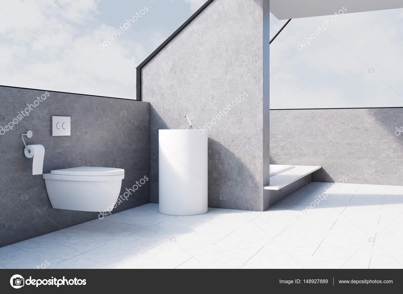 Graue Badezimmer Mit Toilette Beton Seite Stockfoto
