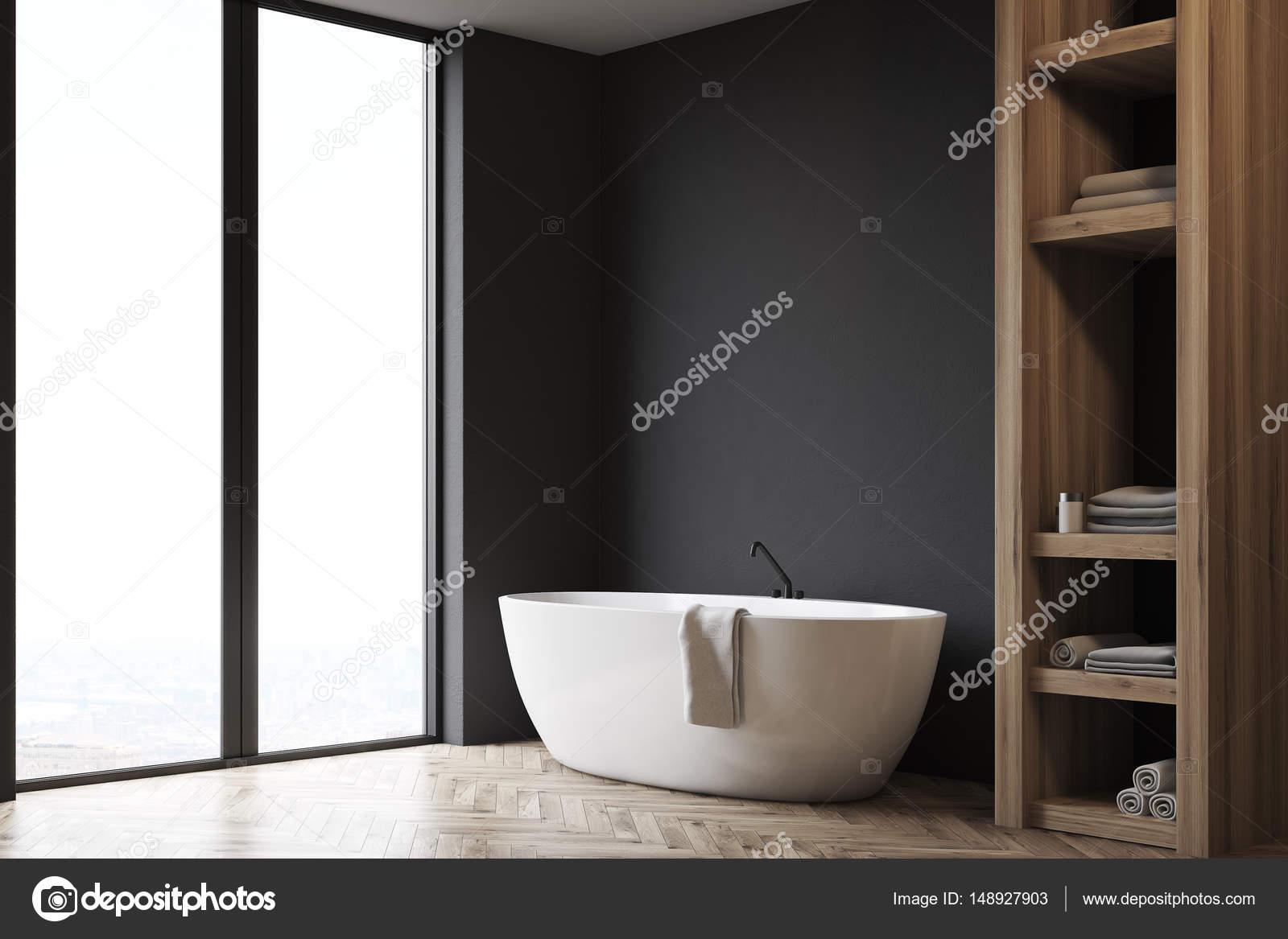 Badezimmer Mit Schrank Und Schwarze Wand Seite Stockfoto