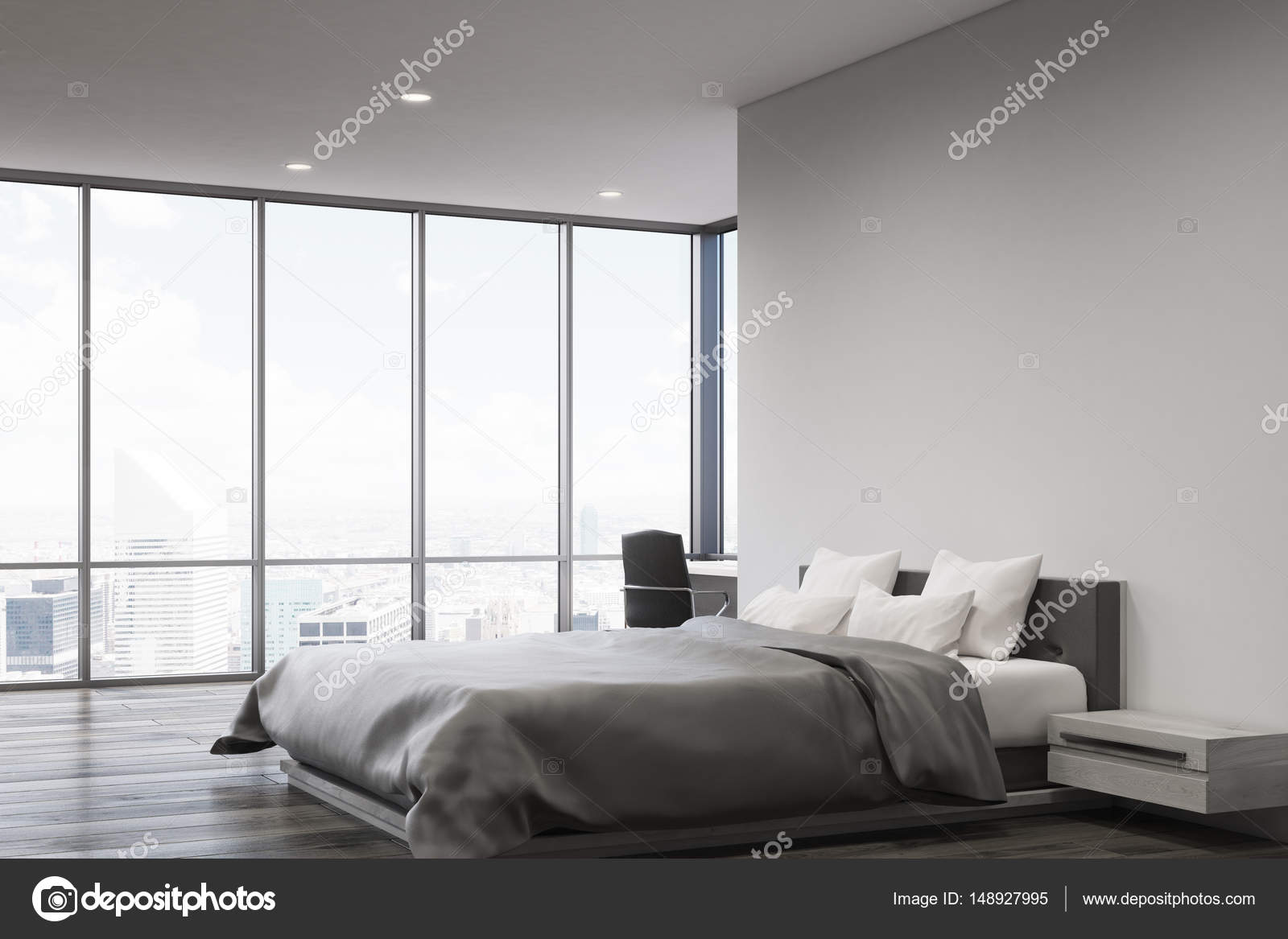 Grijze muur slaapkamer, kant — Stockfoto © denisismagilov #148927995