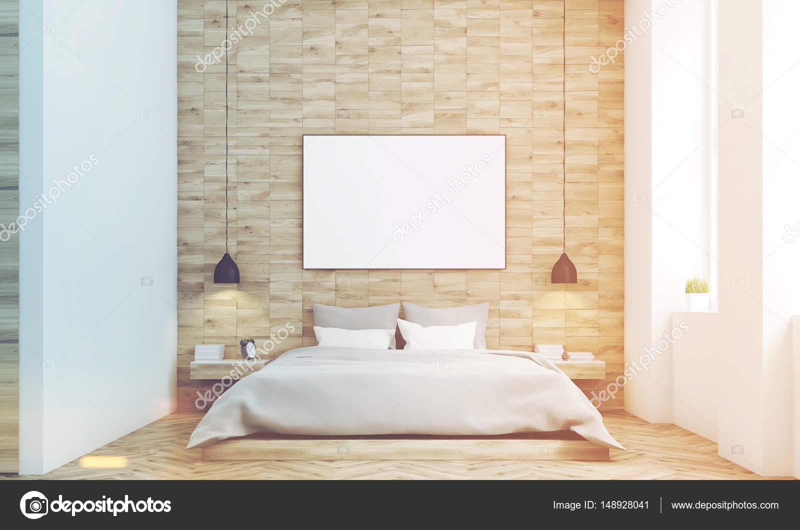 Luce legno camera da letto, fronte, tonica — Foto Stock ...