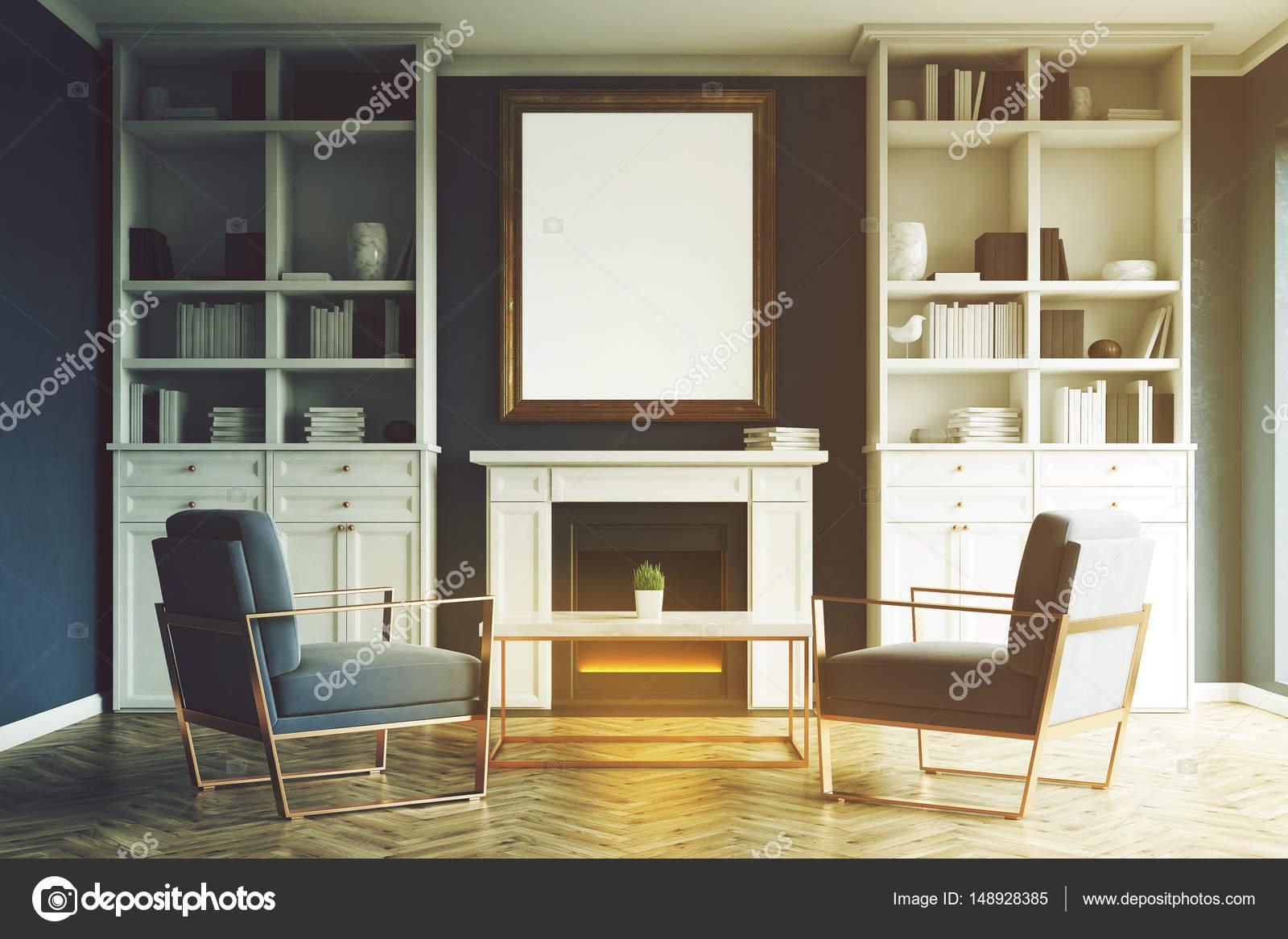 Living comedor con hogar, sillones azules, tonos — Fotos de ...