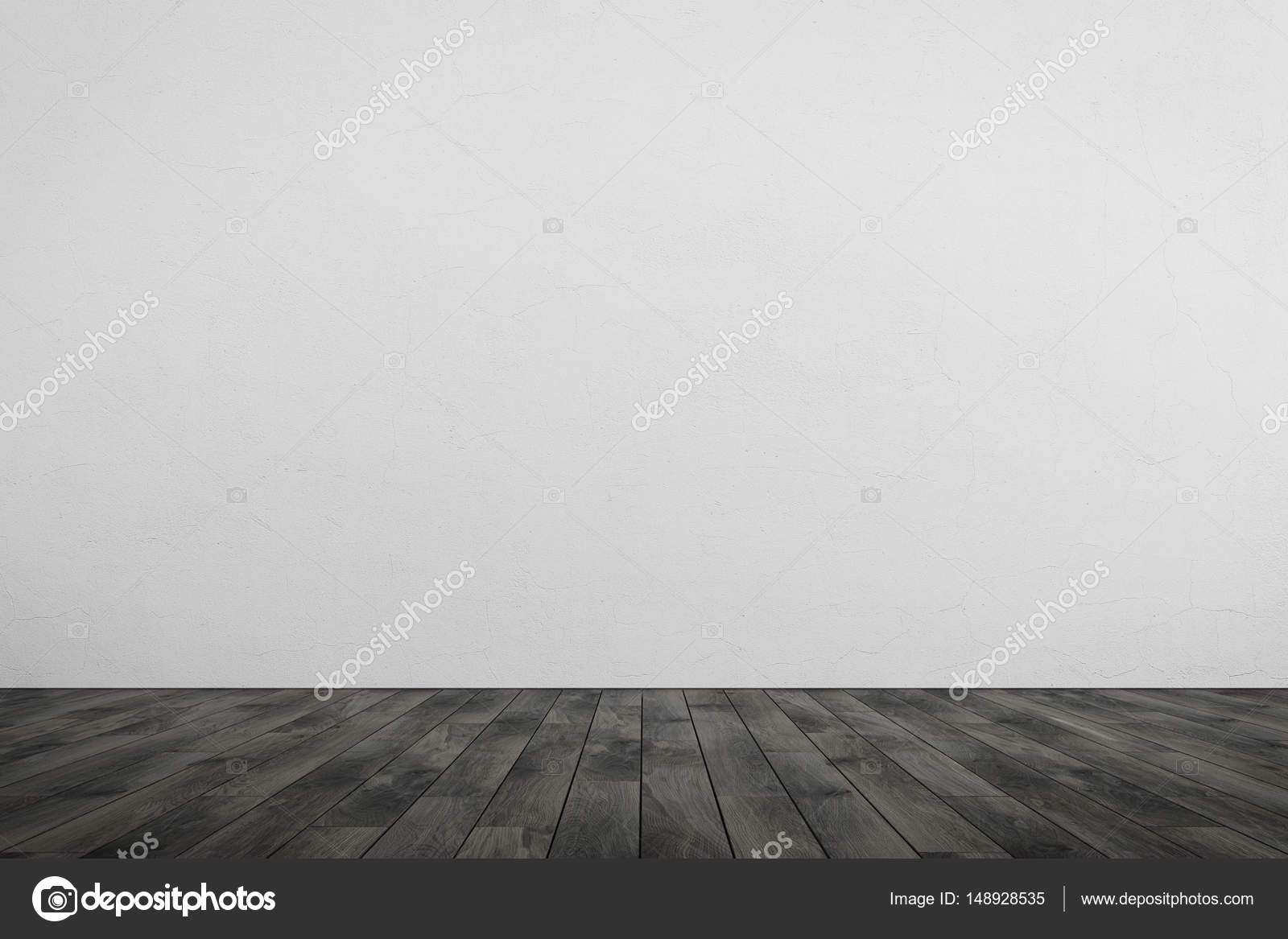 Lege ruimte witte muur grijze houten vloer u stockfoto
