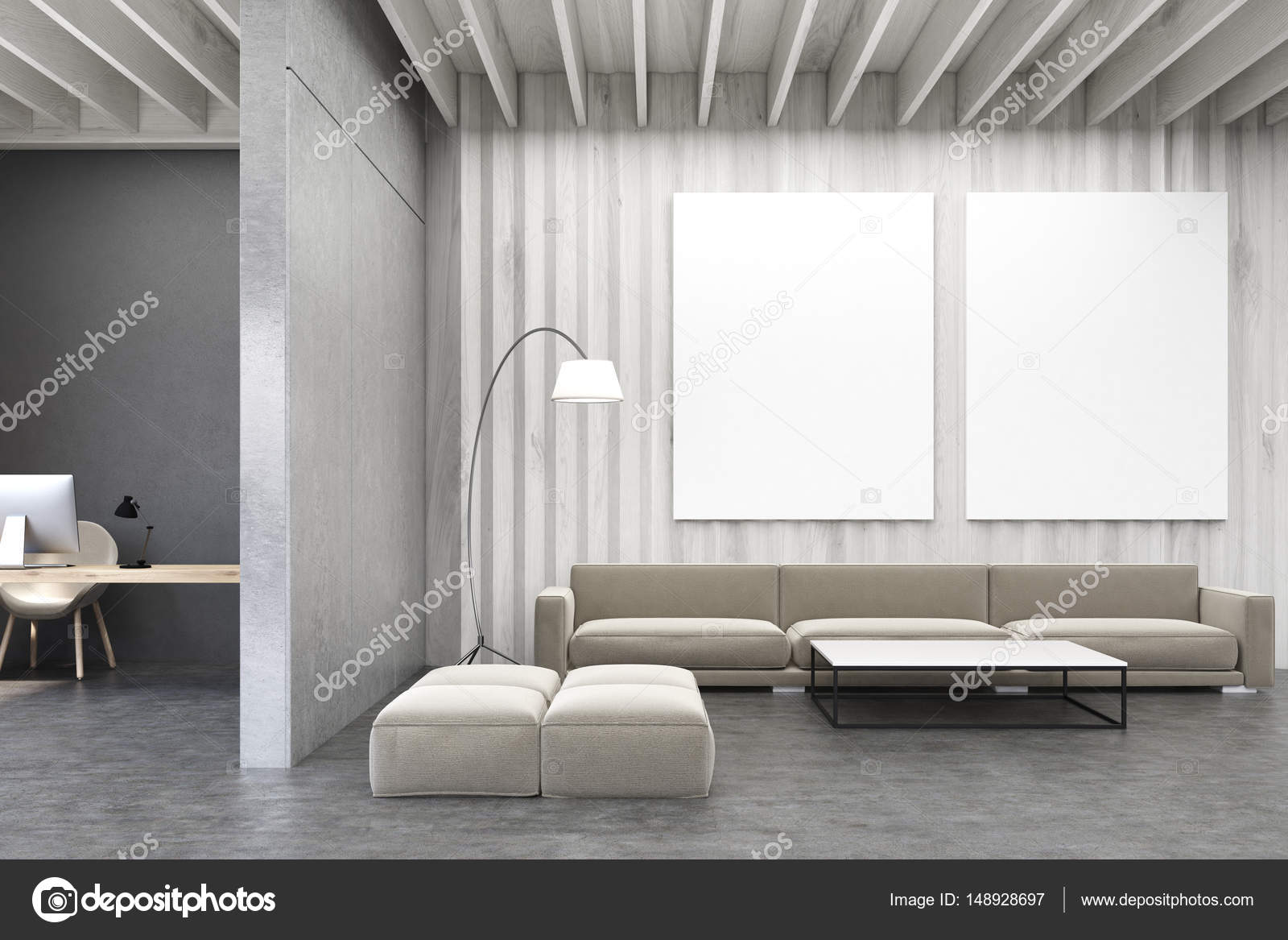 Living room with pictures, wooden walls and sofa — Stock Photo ...