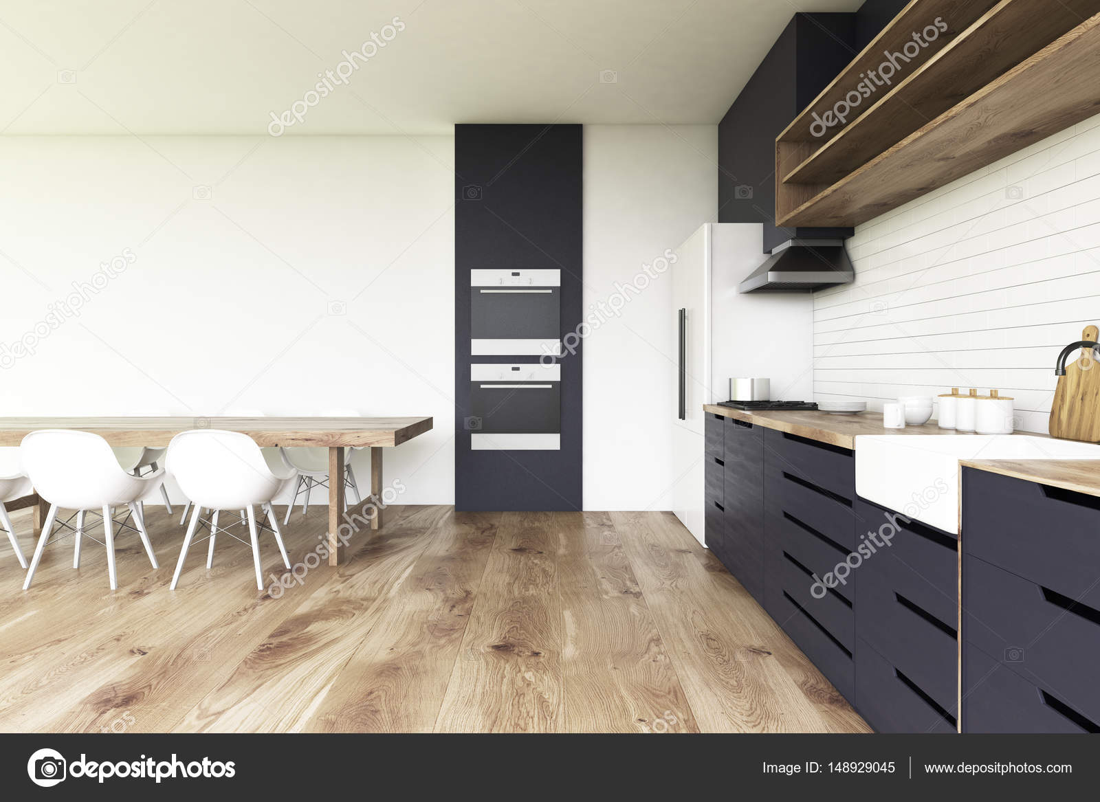 Zwarte keuken en houten vloer informatie over de keuken for Keuken op houten vloer