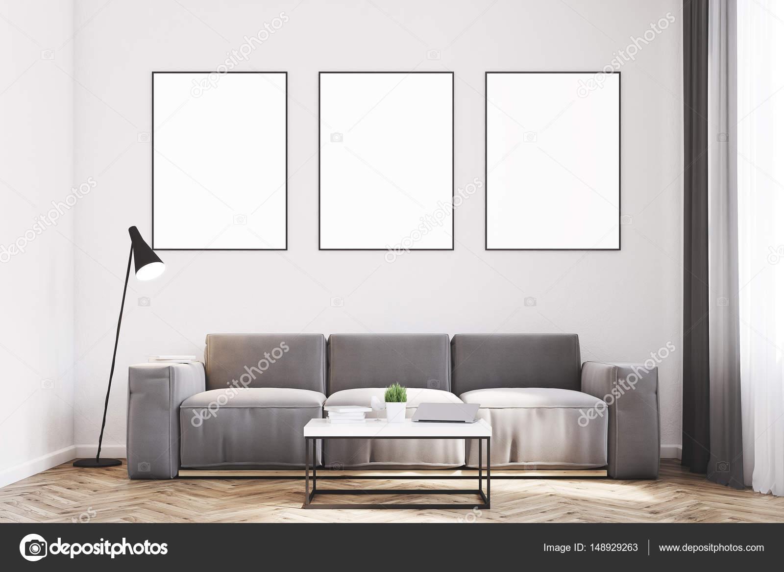 Grigio soggiorno con poster, anteriore — Foto Stock © denisismagilov ...