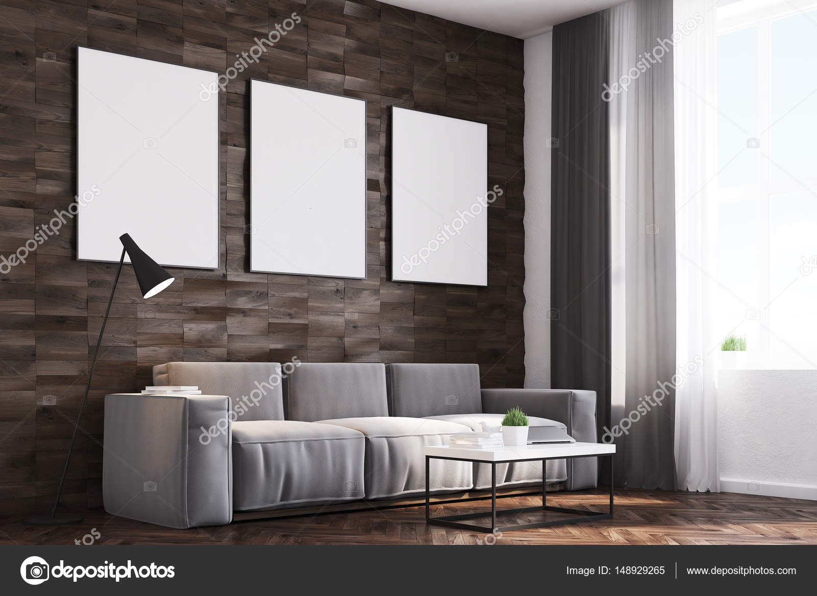 Dark Wood Walls Living Room Side Stock Photo Image By C Denisismagilov 148929265