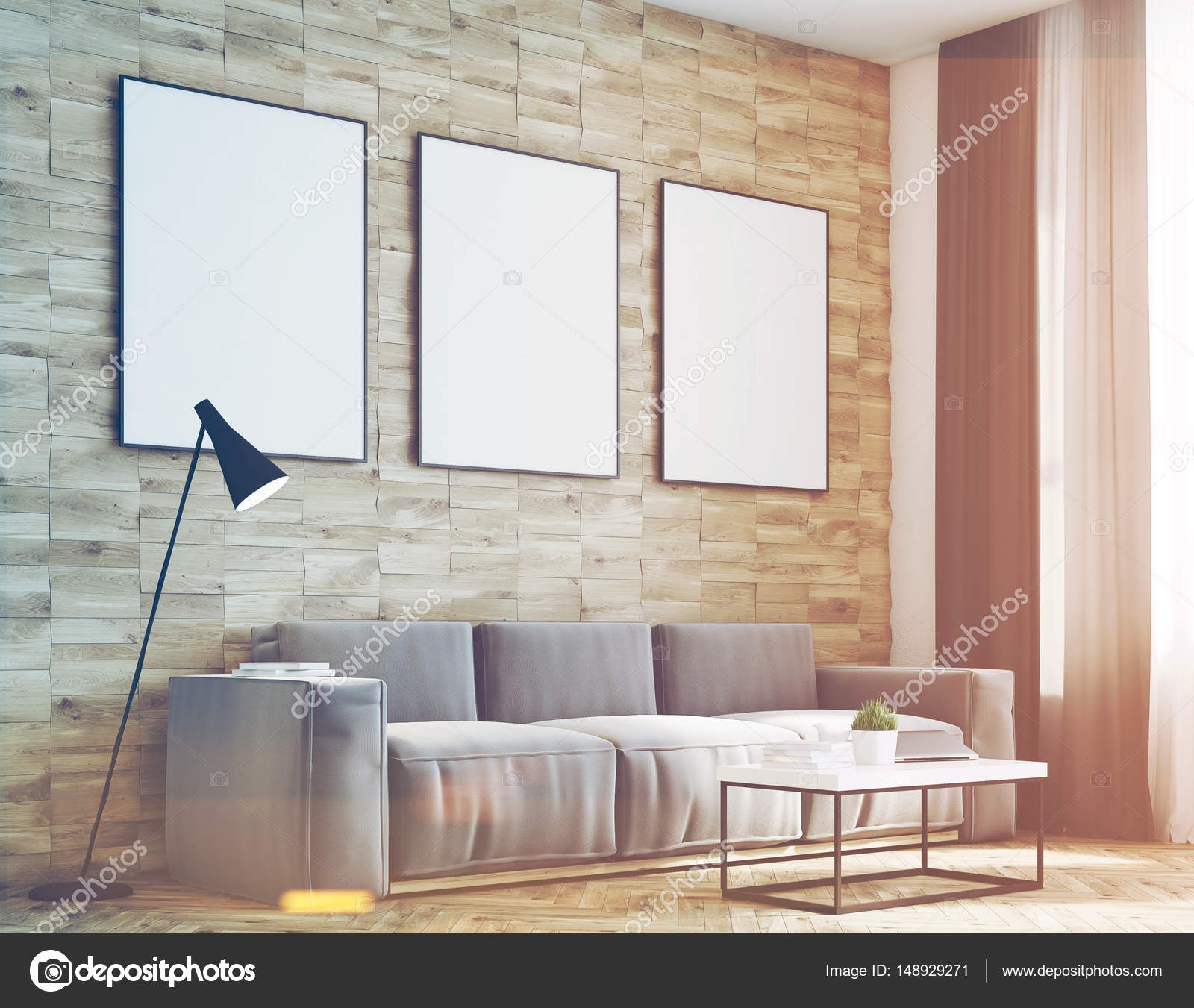 Light wood walls living room, side, toned — Stock Photo ...