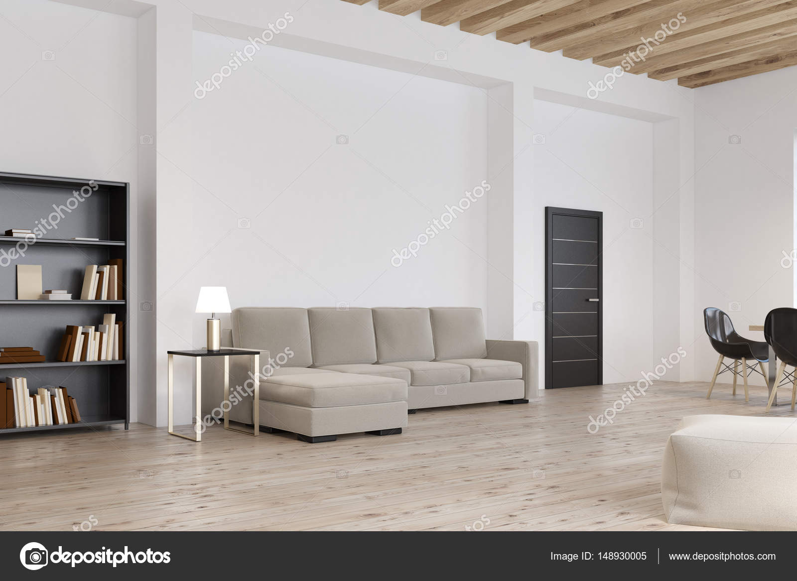 Side view of living room with gray sofa — Stock Photo ...