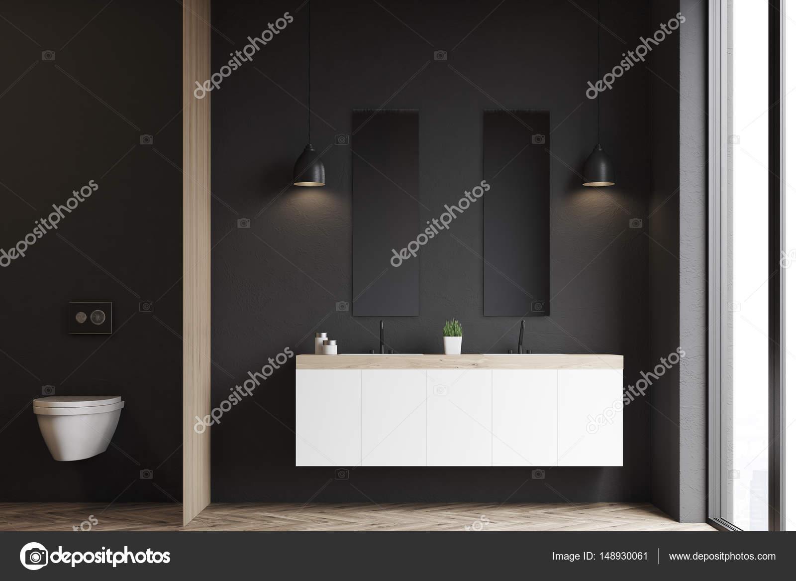 Wc Und Waschbecken Schwarze Wand Stockfoto C Denisismagilov