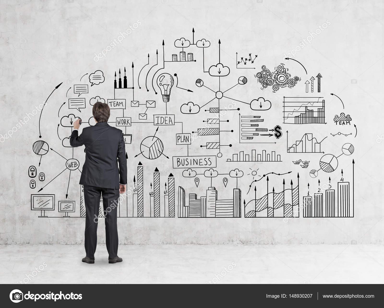 Rückansicht des Mannes Geschäft Schema Zeichnung — Stockfoto ...