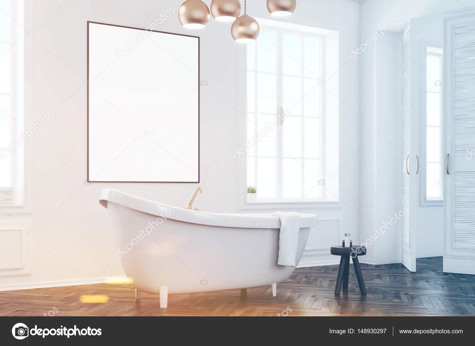 Graue Badezimmer Interieur mit Poster, Seite, getönt — Stockfoto ...