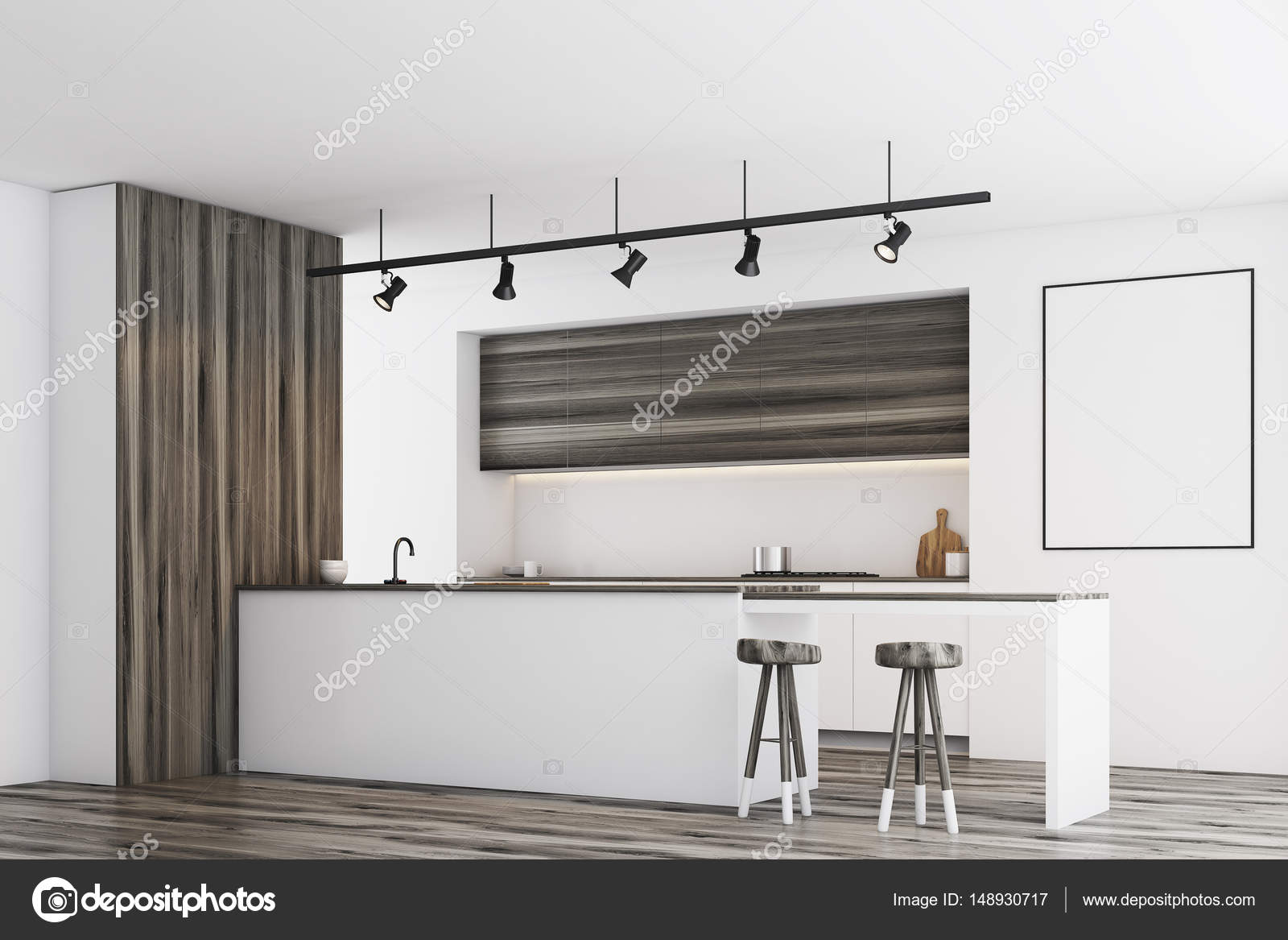 White kitchen with bar and poster, dark, side — Stock Photo ...