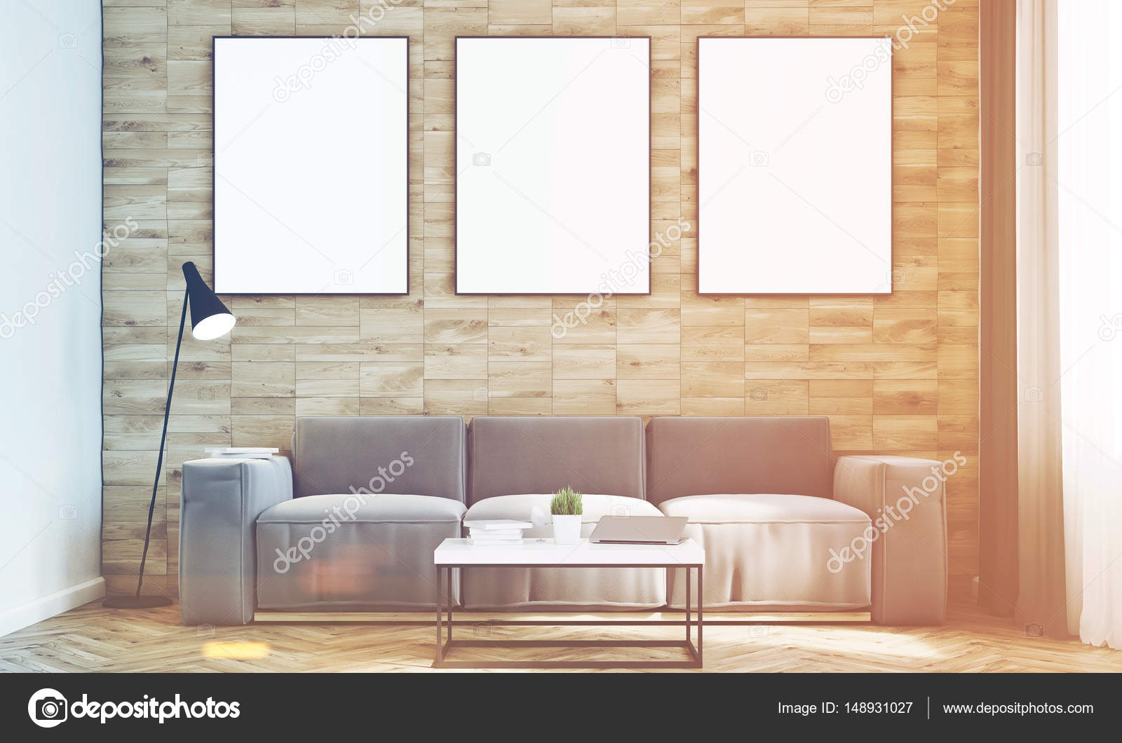 Light wood walls living room, front, toned — Stock Photo ...
