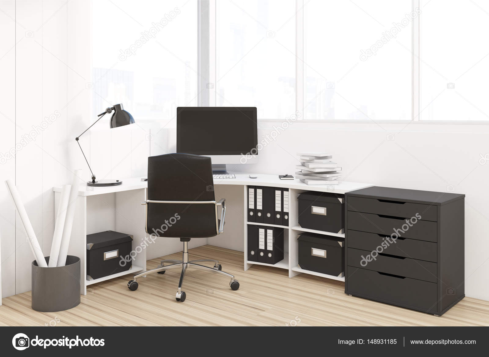 Werkplek Met Zwarte Kast Stockfoto Denisismagilov 148931185