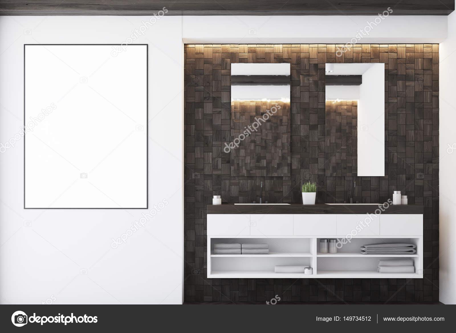 vooraanzicht van een badkamer met donkere tegels een dubbele wastafel twee spiegels en een grote poster hangen aan de muur 3d rendering mock up foto