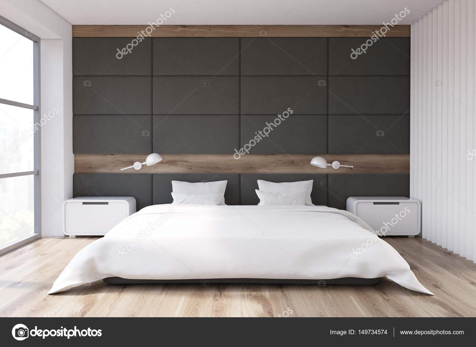 Sypialnia Z Szare ściany Zdjęcie Stockowe Denisismagilov