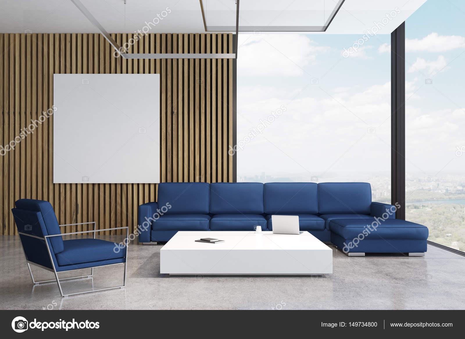 Blaues Sofa Wohnzimmer Mit Poster Stockfoto C Denisismagilov