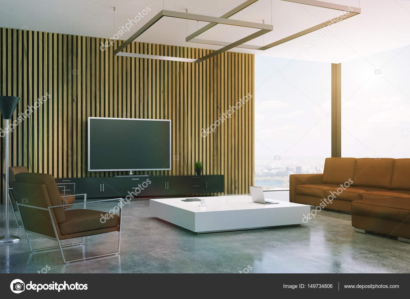 Tons De Marrom Sala De Estar Com Tv Fotografias De Stock  -> Sala De Tv Estar