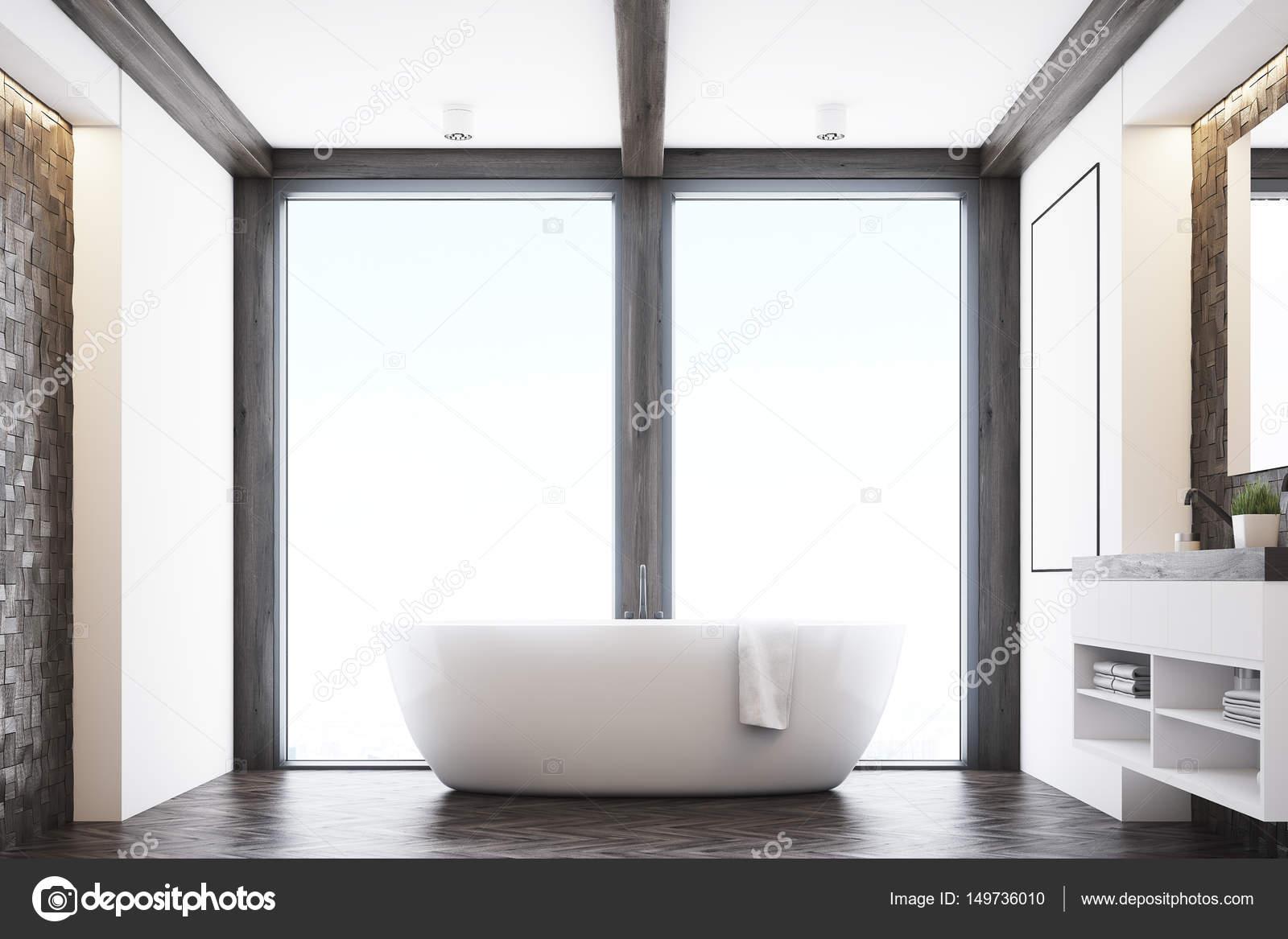 vooraanzicht van een badkamer met donkere tegels een dubbele wastafel een grote witte tub en een groot raam 3d rendering foto van denisismagilov