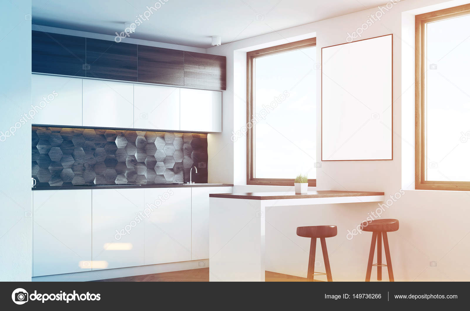 Cucina di legno scura con un bar, lato, tonico — Foto Stock ...