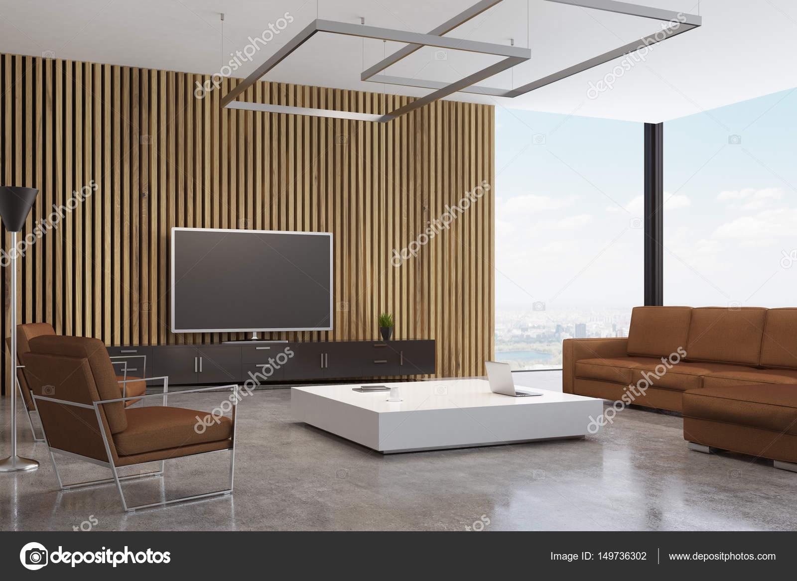 Bruin woonkamer met Tv — Stockfoto © denisismagilov #149736302