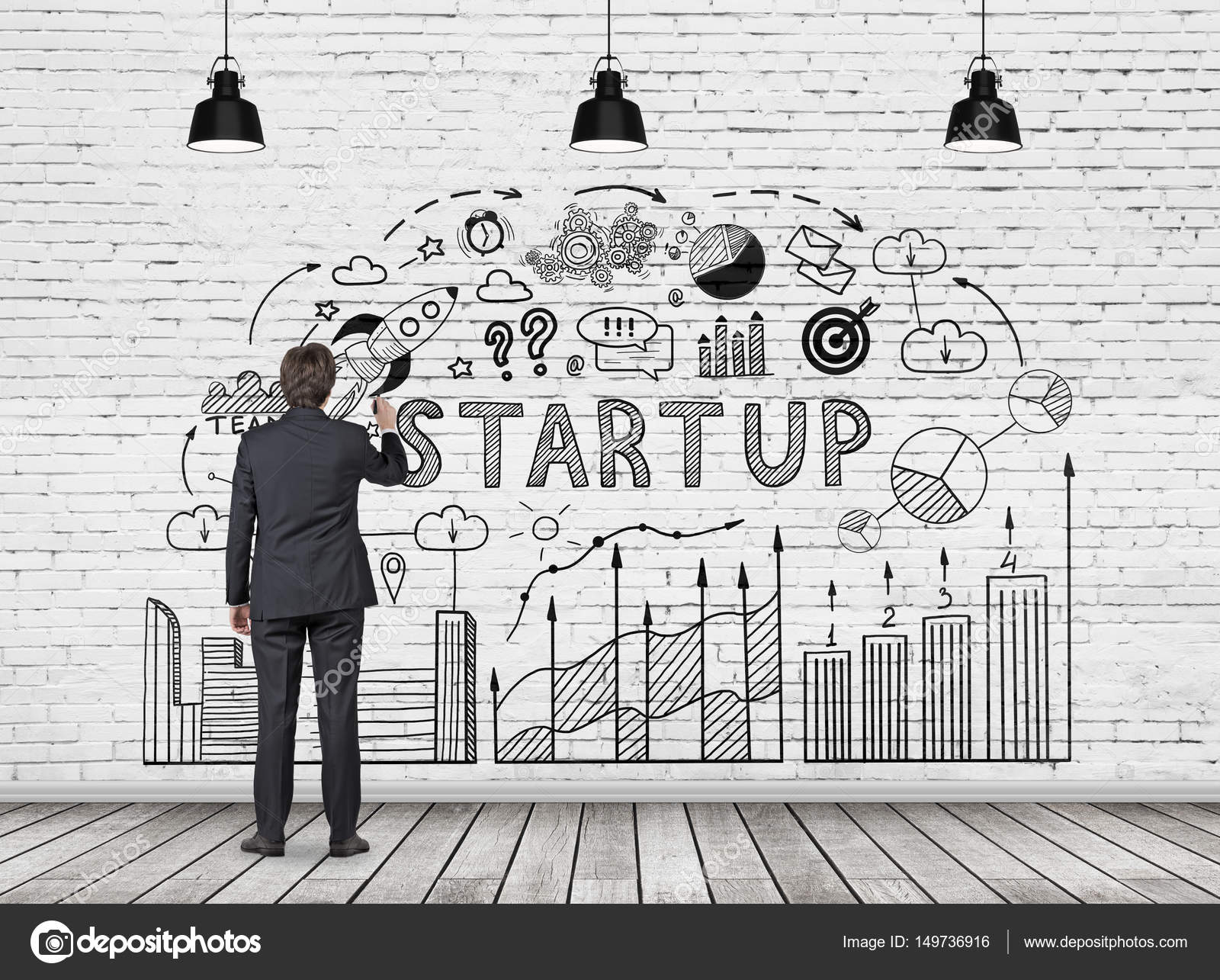 Man drawing start up diagram — Stock Photo © denisismagilov #149736916