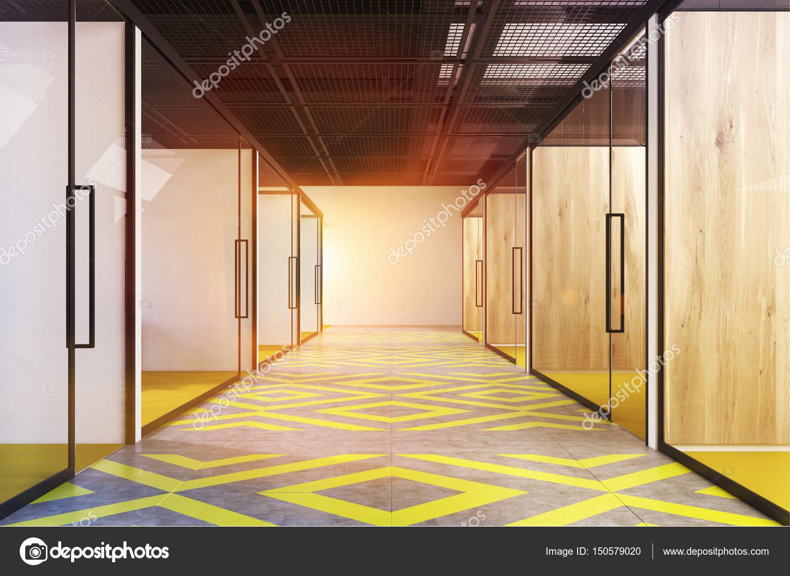 Couloir de bureau jaune et gris tonique u2014 photographie