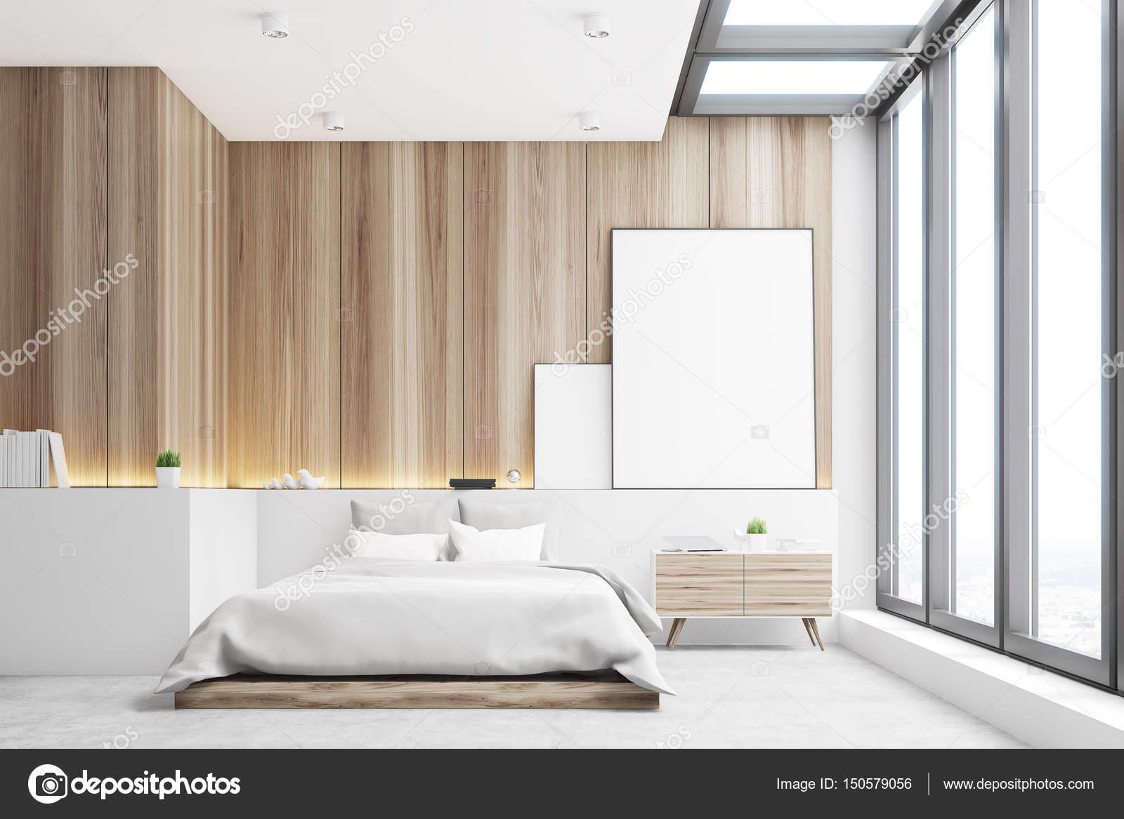 Lichte slaapkamer, hout, voorzijde — Stockfoto © denisismagilov ...