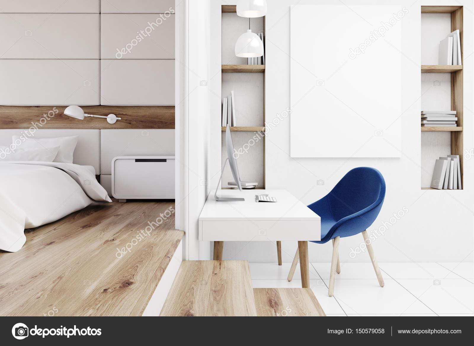 Home office in bedroom, front — Stock Photo © denisismagilov #150579058