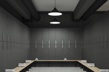 Gray locker room interior