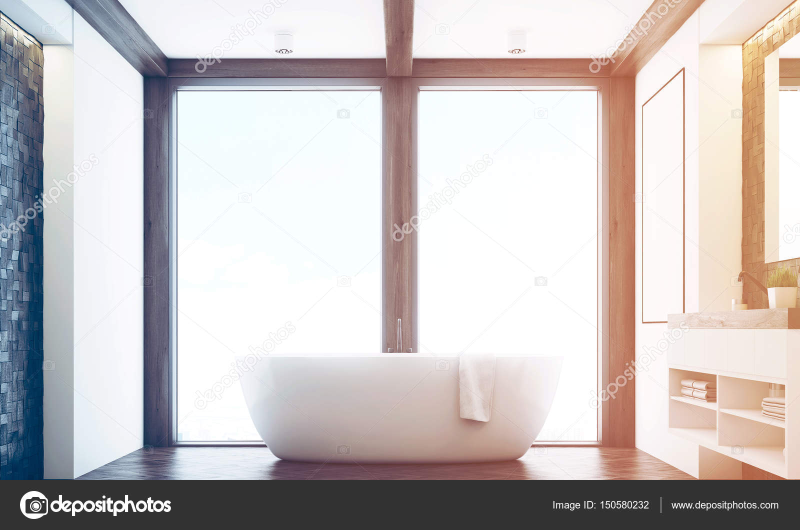 Bagno in piastrelle scure finestra tonica u foto stock