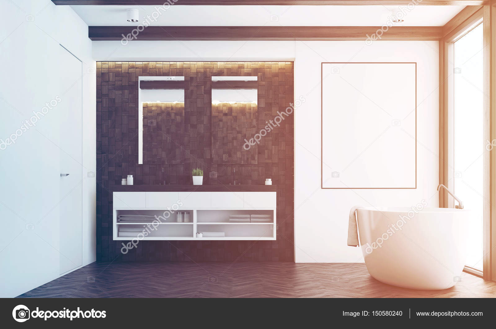 vooraanzicht van een badkamer met donkere tegels twee spiegels een dubbele wastafel een grote witte tub en een poster die opknoping in de buurt van het