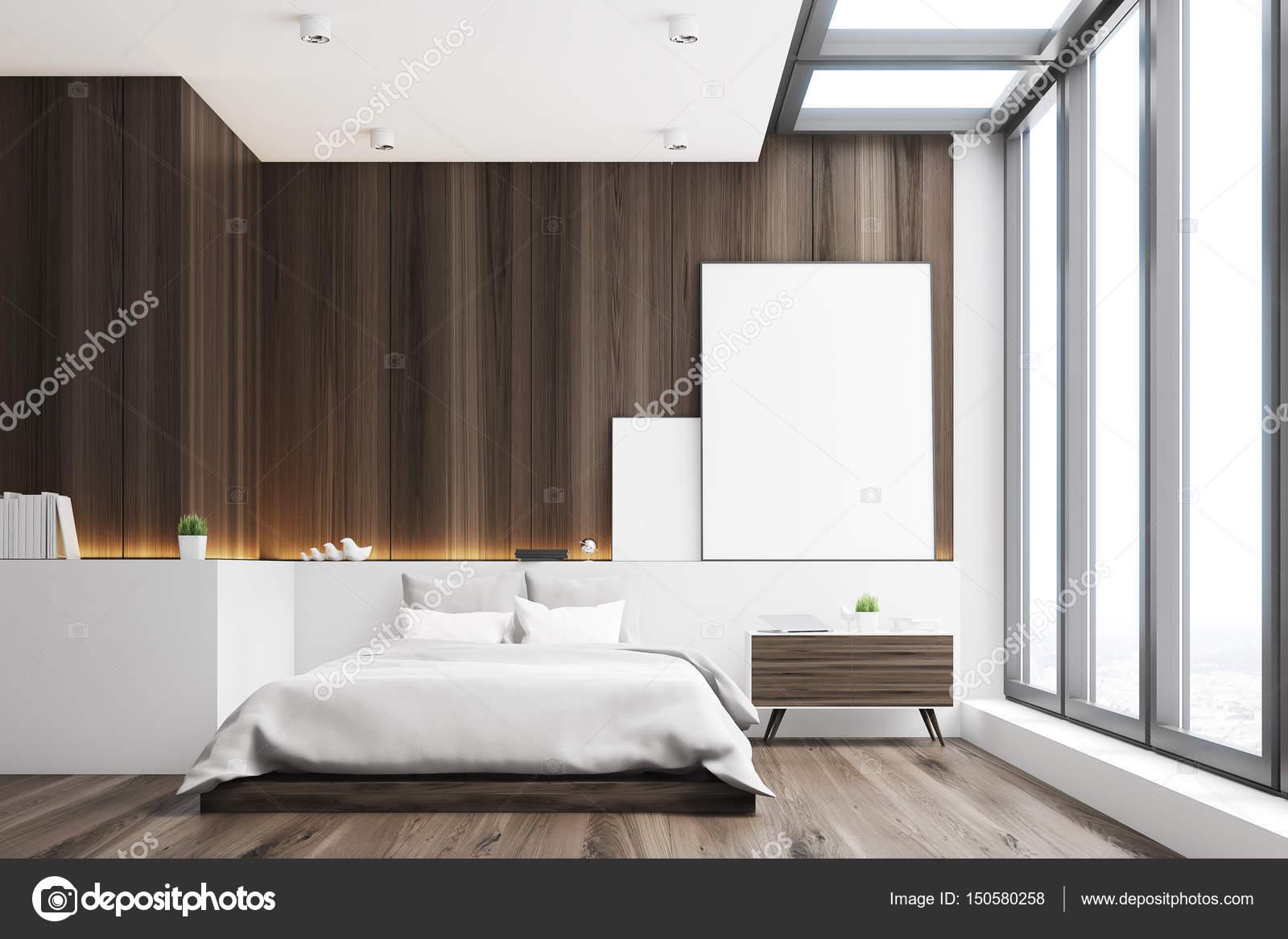 donkere slaapkamer hout voorzijde stockfoto