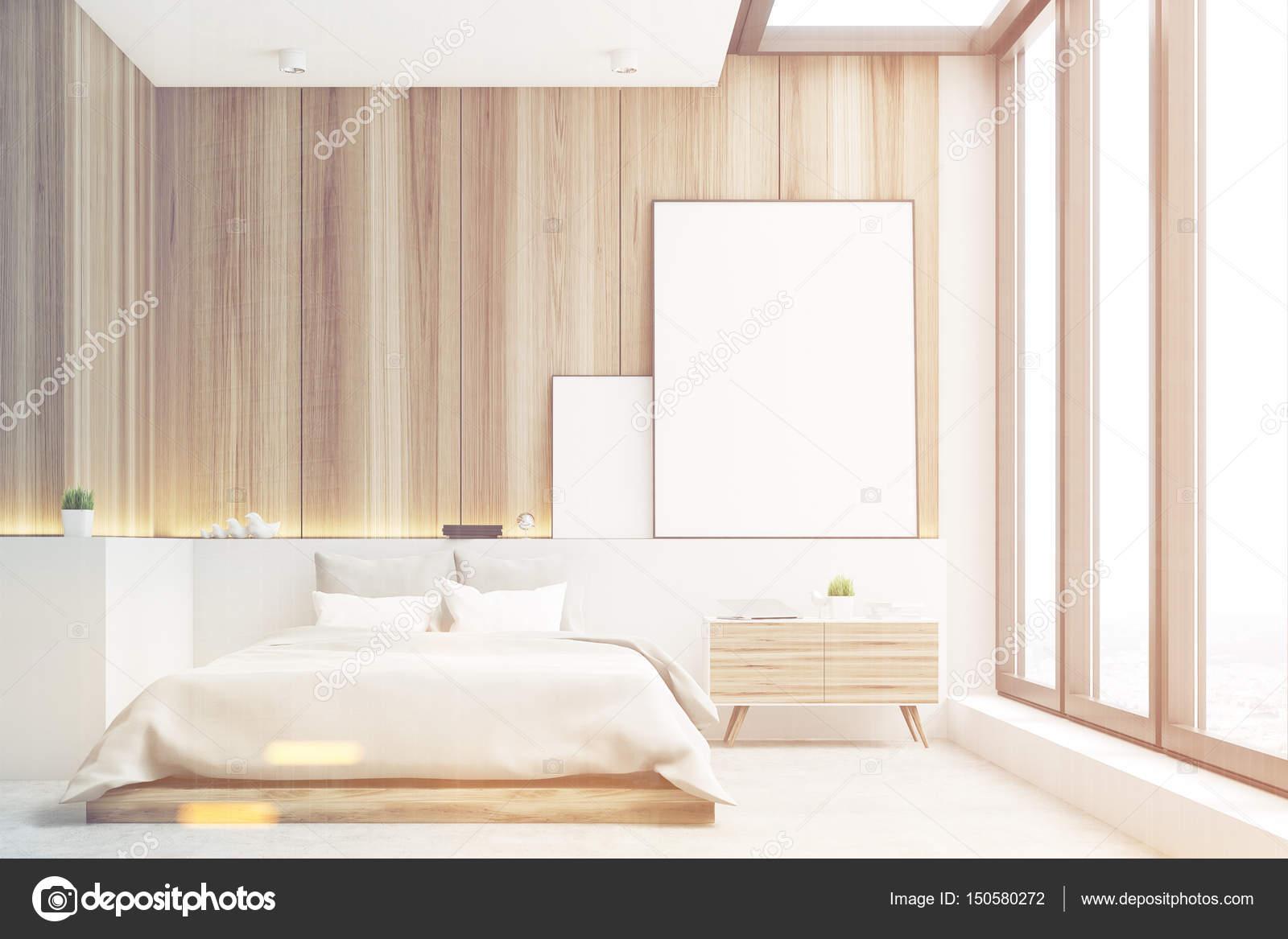 Lichte slaapkamer, hout, voorzijde, afgezwakt — Stockfoto ...