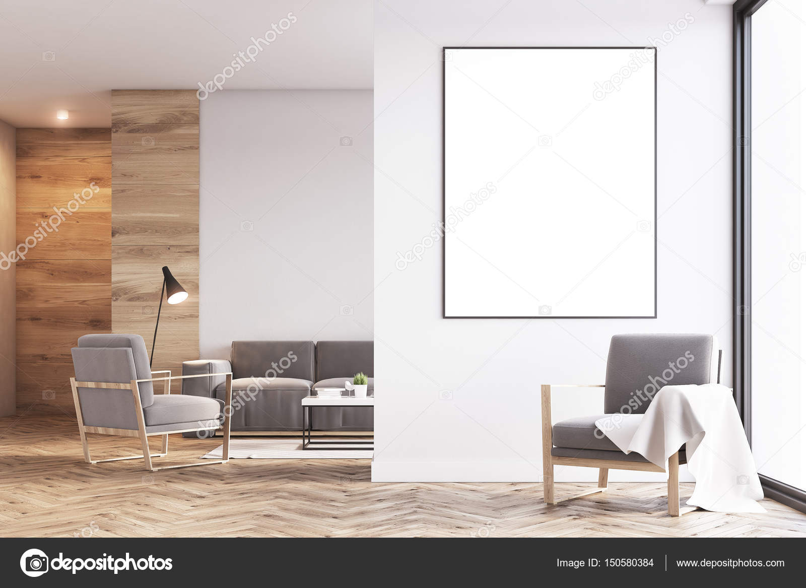Living room, armchair, wood, front — Stock Photo © denisismagilov ...